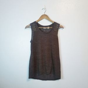 Cato brown semi-sheer embellished tank top